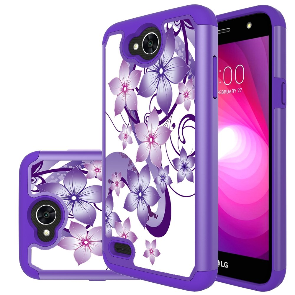 "LG X Charge Case,LG X Power 2 Case,LG Fiesta LTE Case,Yiakeng Shock Absorbing Dual Layer Protective Fit Armor Phone Case Cover Shell for LG X power2 5.5""(Purple Flower)"