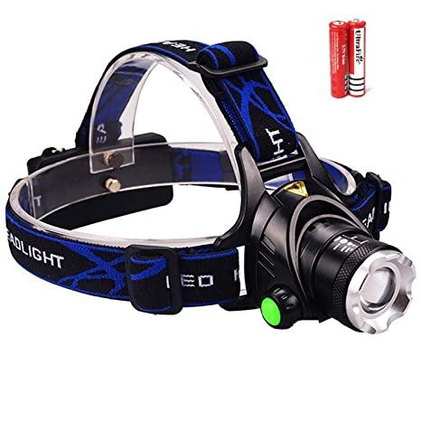 Zoomable Rechargeable Headlamp - LED Headlight Flashlight with Batteries - Head Flashlight - Best Tactical Headlamp