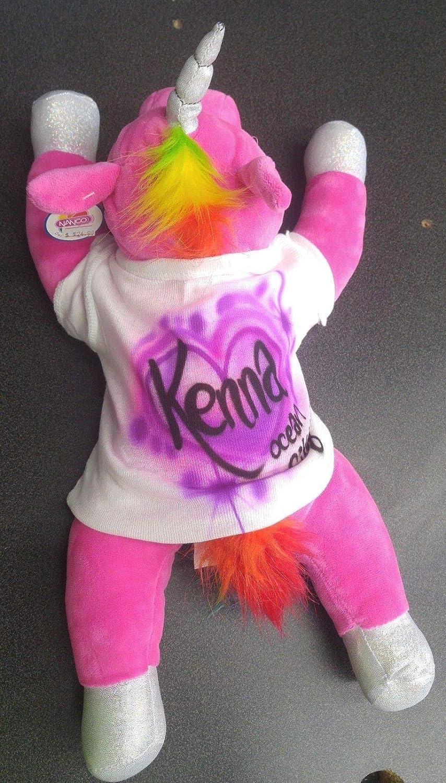 Baby Shower Plush Unicorn with custom Airbrush T-shirt and name! Personalized Stuffed Animal Personalized Gift