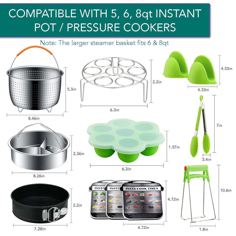 Instant Pot Accessories Set by LeafLife | Compatible with 5,6,8 Qt Instapot- Steamer Baskets, Springform Pan, Egg Bites Mold & More (BONUS RECIPES) by LeafLife (Image #6)