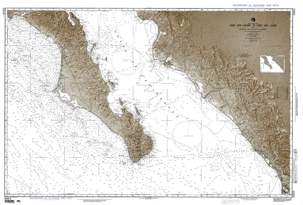Paradise Cay Publications NGA Chart 21014: Mexico West Coast Cabo San Lazaro To Cabo San Lucas And Southern Part Of Golfo De Californa; 36.5 X 53; TRADITIONAL PAPER by Paradise Cay Publications