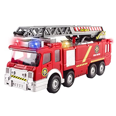 Fire Truck Toy Rescue with Shooting Water, Lights and Sirens Sounds, Extending Ladder and Water Pump Hose to Shoot Water, Bump and Go Action by Vokodo: Toys & Games
