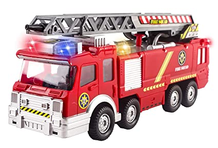 Fire Truck Toy Rescue With Shooting Water Lights And Sirens Sounds Extending Ladder And Water Pump Hose To Shoot Water Bump And Go Action By Vokodo