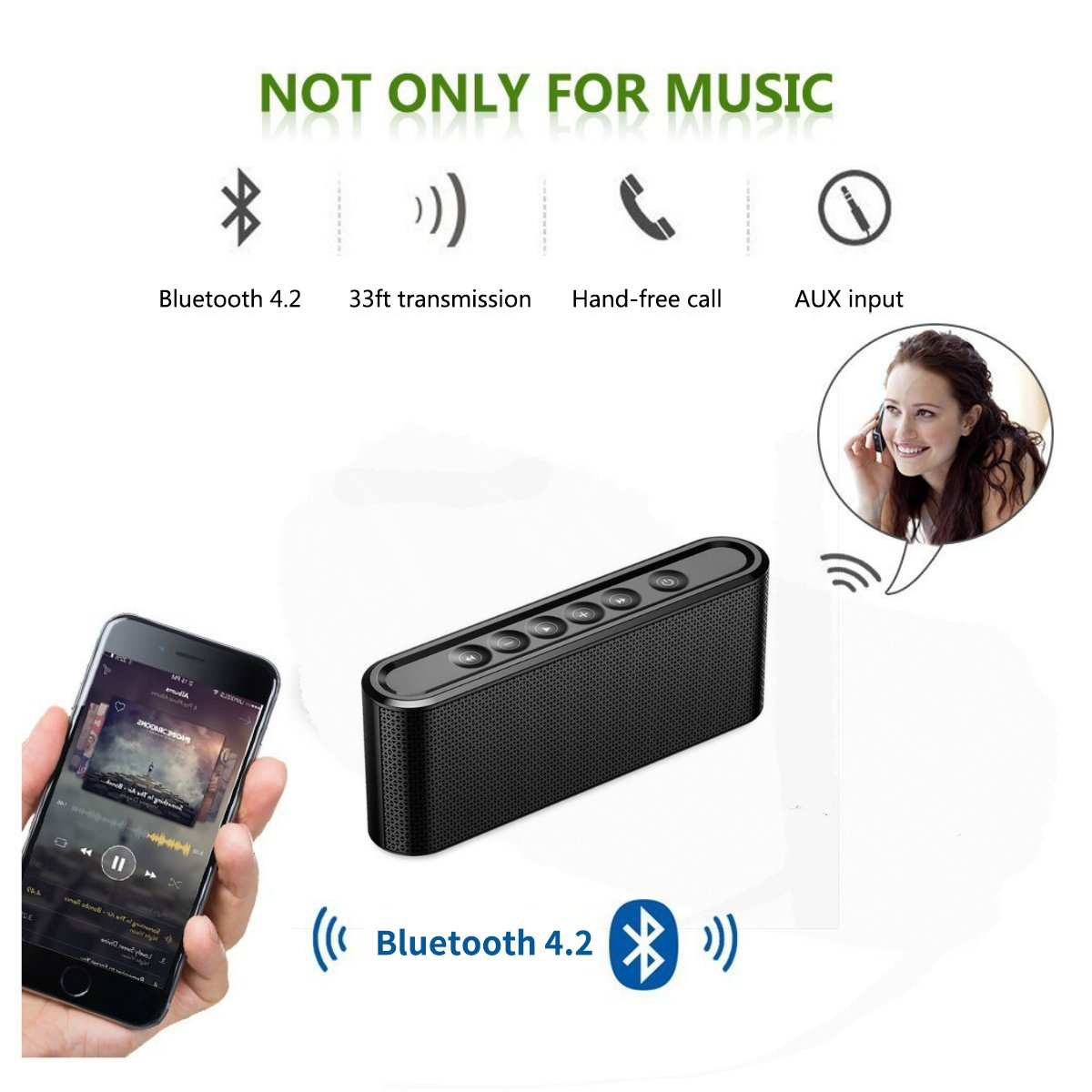 Bluetooth Speakers, 6W Touch Metal Speakers, Mini Portable Bluetooth 4.2 Wireless with Super Bass, Treble Stereo Subwoofer, Support TF Card, USB Disk, 3.5mm AUX Input,Mobile Computer Accessories by WORENMI (Image #7)