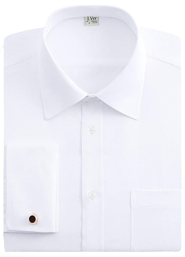 Mens Vintage Shirts – Retro Shirts J.VER Mens French Cuff Dress Shirts Regular Fit Long Sleeve Spead Collar Metal Cufflink  AT vintagedancer.com