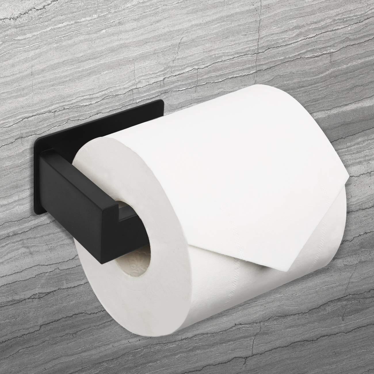 HAUSPROFI Soporte de papel higi/énico de acero inoxidable con autoadhesivo Negro Mate sin agujeros