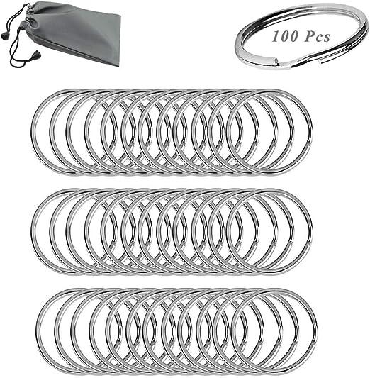 25mm, Bolsa Impermeable SUNSHINETEK 100 Unidades Llaveros Divididos 1 Pulgada Anillo Dividido de Metal Llavero para Organizaci/ón de Llaves de Coche para el Hogar