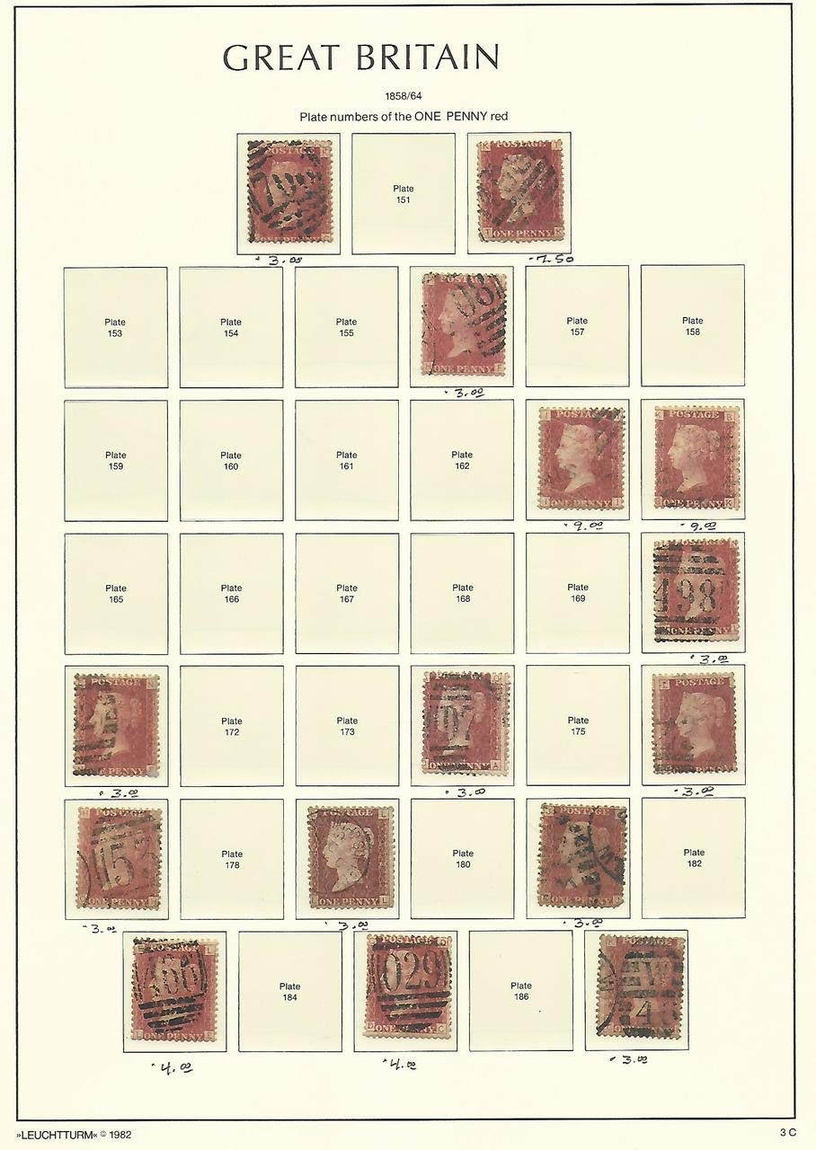 Great Britain Stamp Collection on Lighthouse Page 1858-64
