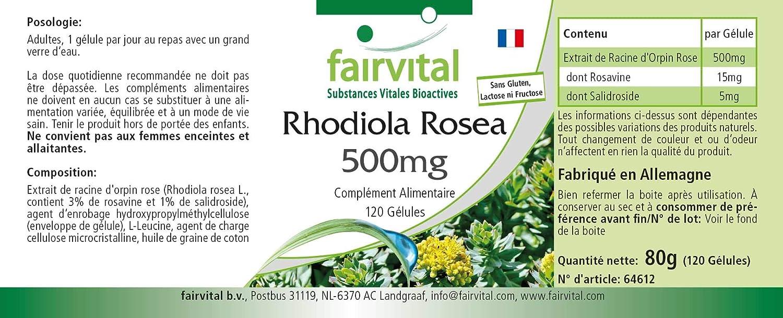 Extracto de Rhodiola Rosea 500mg - VEGANO - Dosis elevada - 15mg ...