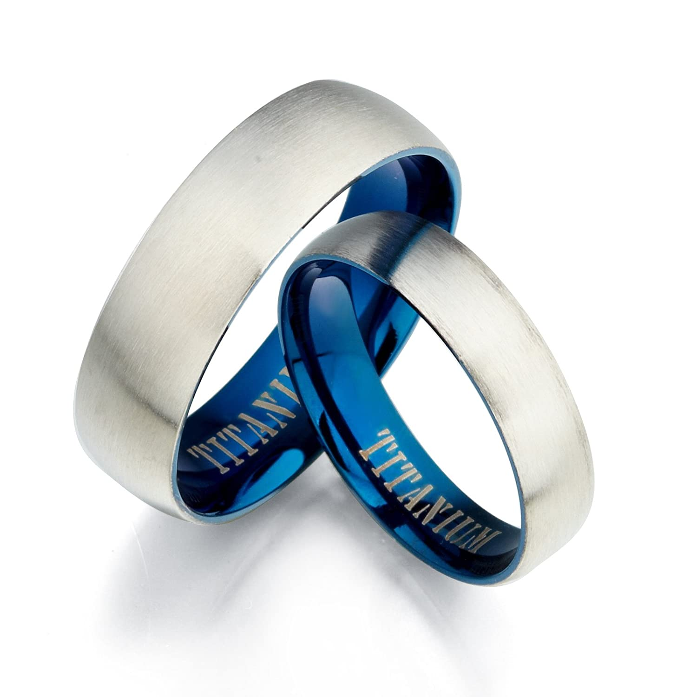 12 Women Ring Size 7.5 Gemini Men /& Womens Blue Two Tone Matte /& Polish Anniversary Titanium Wedding Ring Set Width 7mm /& 5mm Men Ring Size