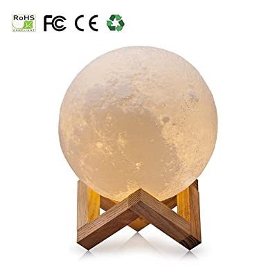 3D Moon Lampe, USB LED Night Light Lampe de table lunaire magique Moonlight Gift Capteur tactile à deux tons avec support en bois (10cm/3.94in)