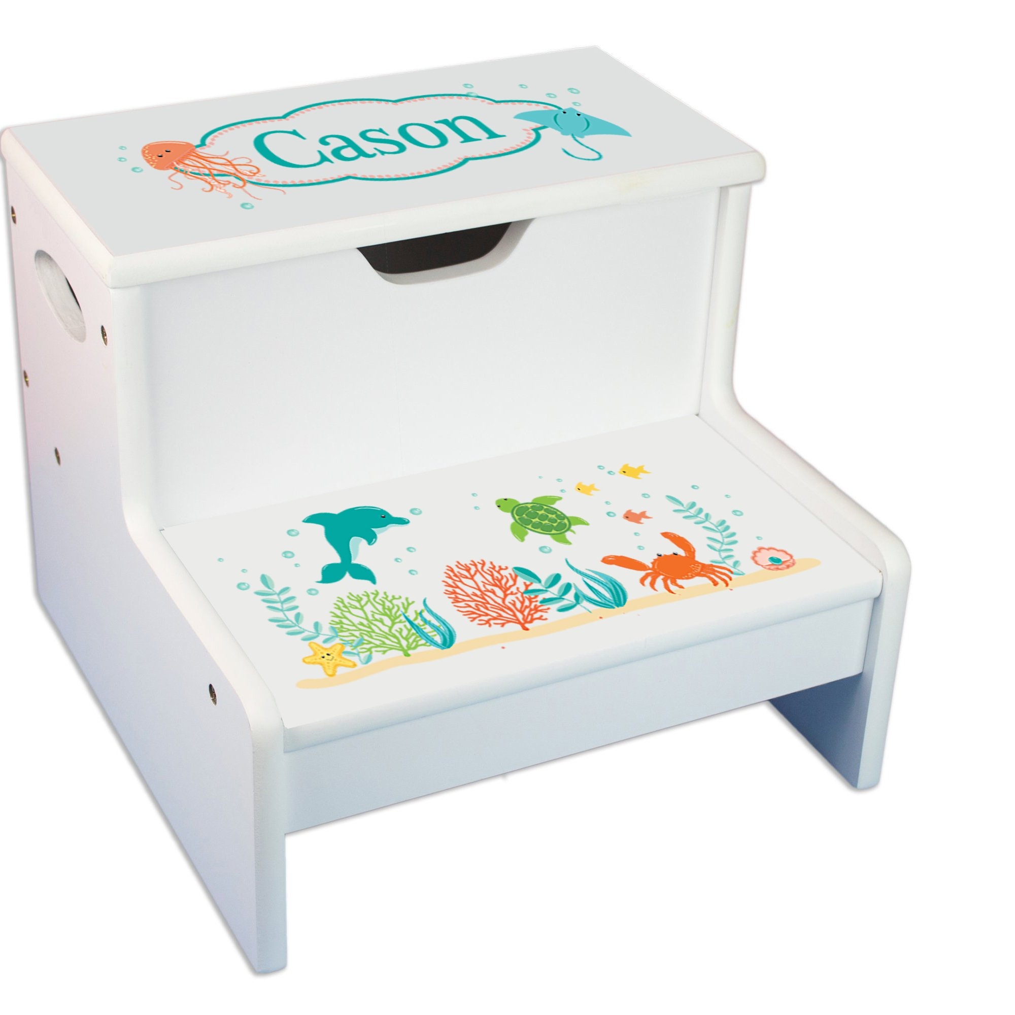 Personalized Sea and Marine White Childrens Step Stool with Storage by MyBambino (Image #1)