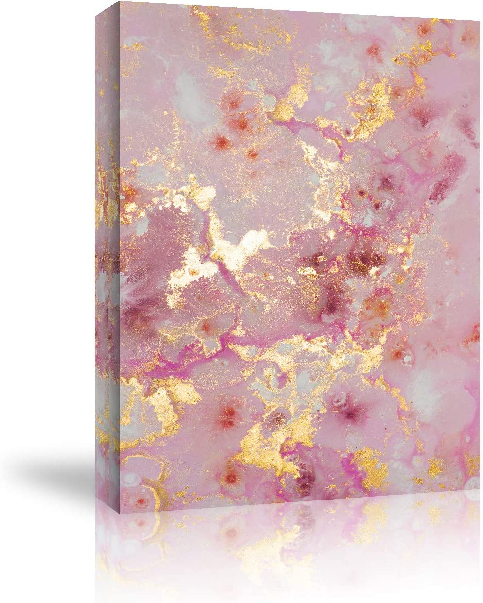 Looife Canvas Wall Art - 18x24 Inch Pink and Gold Marble Stone Texture Picture Prints Wall Decor, Ready to Hang