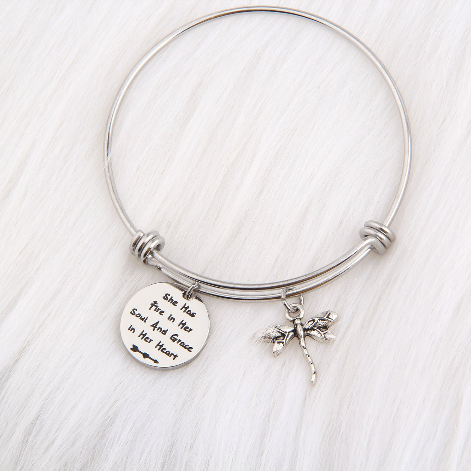 PLITI Inspirational Jewelry Graduation Gift She Has Fire in Her Soul and Grace in Her Heart Bracelet with Dragonfly Charm Motivational Faith Gift for Her (She has fire in Soul) by PLITI (Image #4)