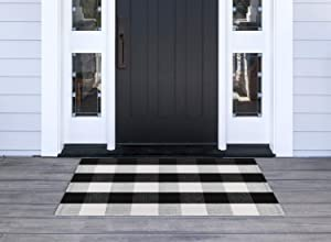 Syntus Kitchen Rug Buffalo Plaid Area Rugs Black and White Cotton Outdoor Mat for Porch Bathroom Carpet Living Room Throw Mat, 23.6 x 35.4 inch