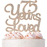 50 周年纪念或生日莱茵石蛋糕装饰 75 Years Loved Rose