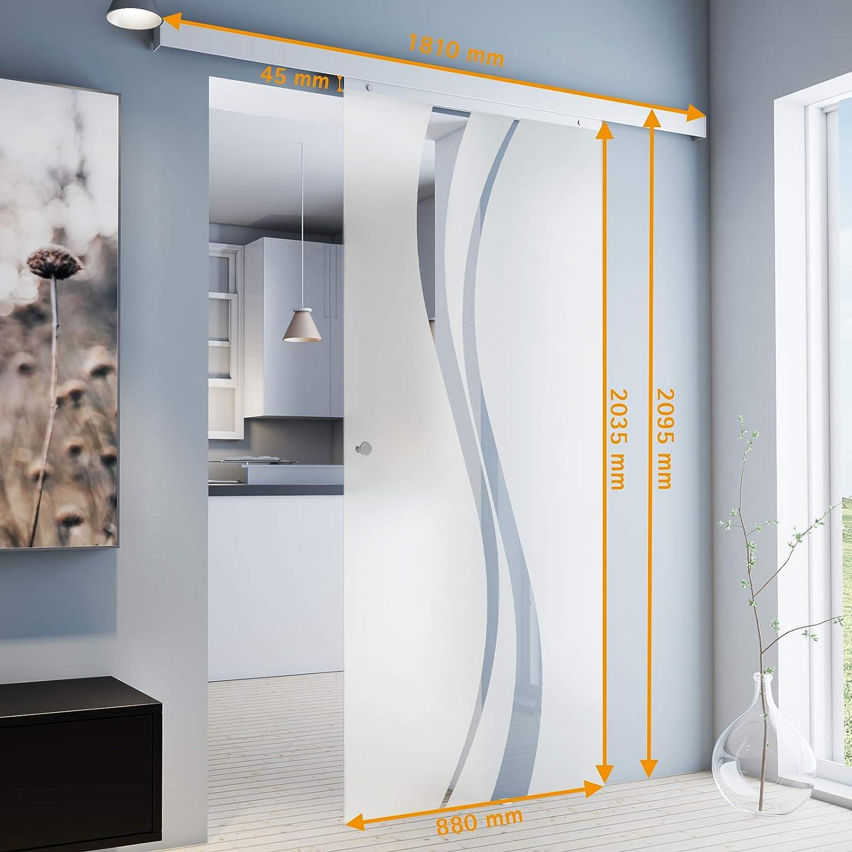 inova Glas-Schiebet/ür 880 x 2035 mm Wellen Design Alu Komplettset mit Lauf-Schiene und Griffmuschel inkl beidseitiger Softclose