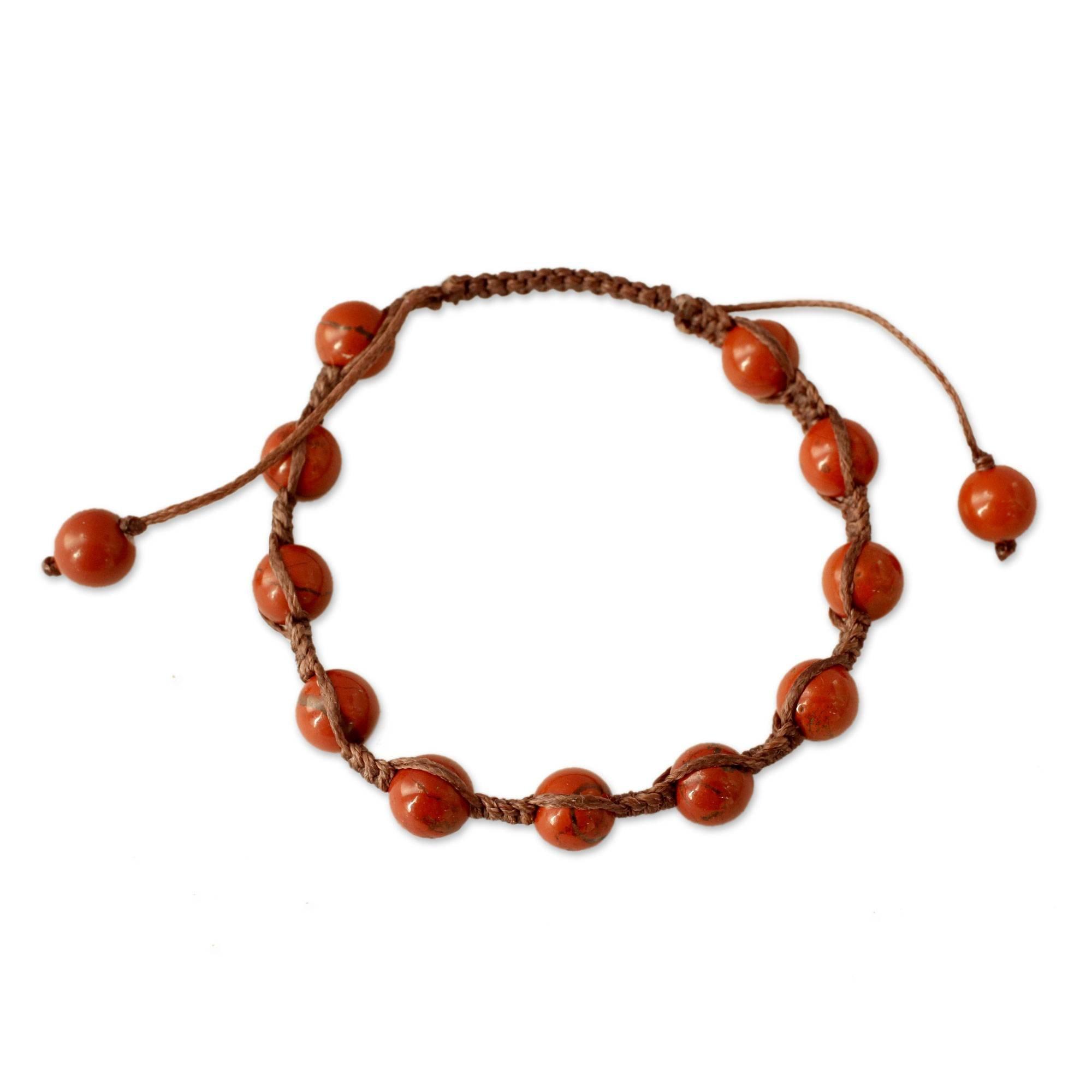 NOVICA Jasper and Cotton Macrame Shambhala Style Bracelet, Adjustable Length, 'Blissful Courage'
