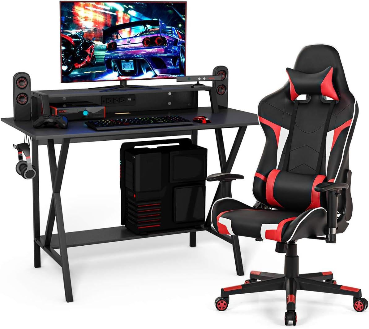 Tangkula Gaming Desk and Chair Set, Ergonomic E-Sport Gamer Desk & Racing Chair Set w/Cup Holder, Monitor Stand, Earphone Hook, Massage & Headrest, Home Office Computer Desk Chair Set (Red)