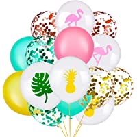 SATINIOR 45 Pieces Hawaii Party Decorative Balloon Flamingo Tropical Leaf Pineapple Balloons Colorful Balloon with Round…
