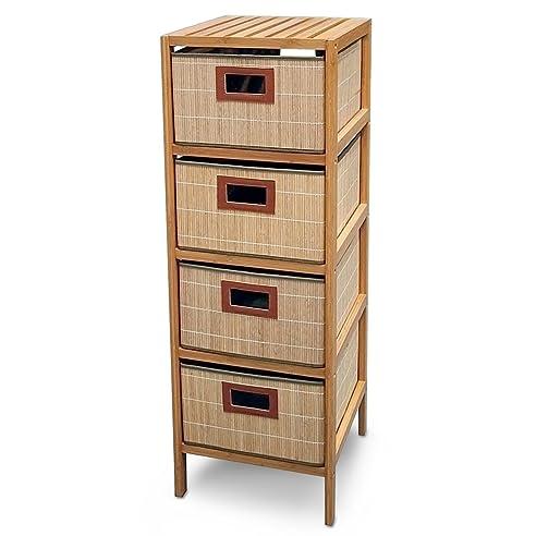 Regalsystem holz baumarkt  Bambus Regal mit 4 Körben - Holz Schubladen Regal: Amazon.de: Baumarkt