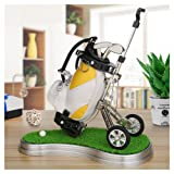 10L0L Mini Desktop Golf Bag Pen Holder with Lawn Base and Golf Pens 3-Piece Set of Golf Souvenir Tour Souvenir Novelty Gift for Golfer,Father,Boyfriend (Yellow and White)