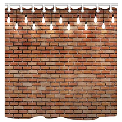 Image Unavailable Not Available For Color JAWO Brick Wall Shower Curtain