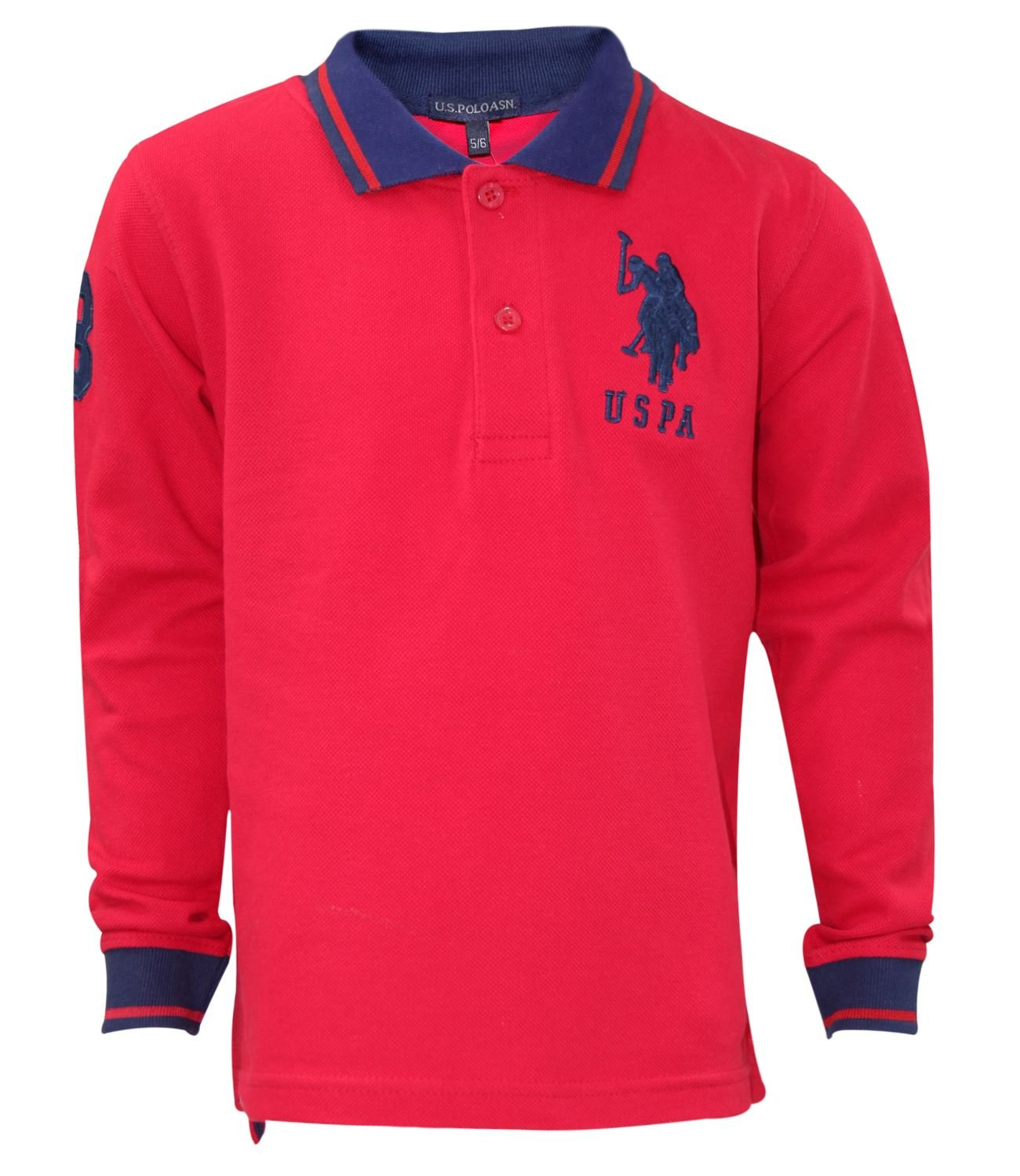 U.S.POLO ASSN. Kids Printed Tip Collar T Shirt