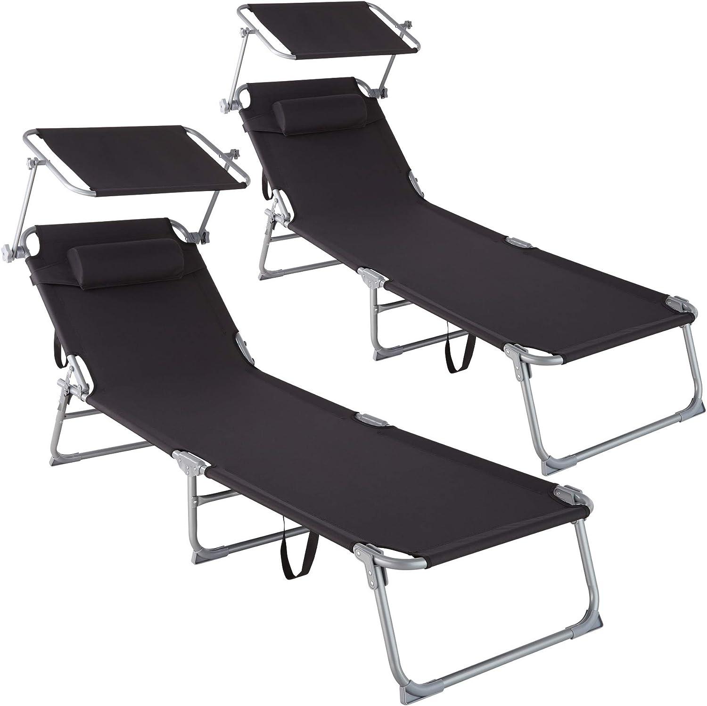 TecTake 800773 Set 2X Tumbona de Playa con Parasol, Respaldo Ajustable 4 Posiciones, Reposacabezas Extraíble, Exterior Piscina Terraza Jardín (Negro | No. 403416)