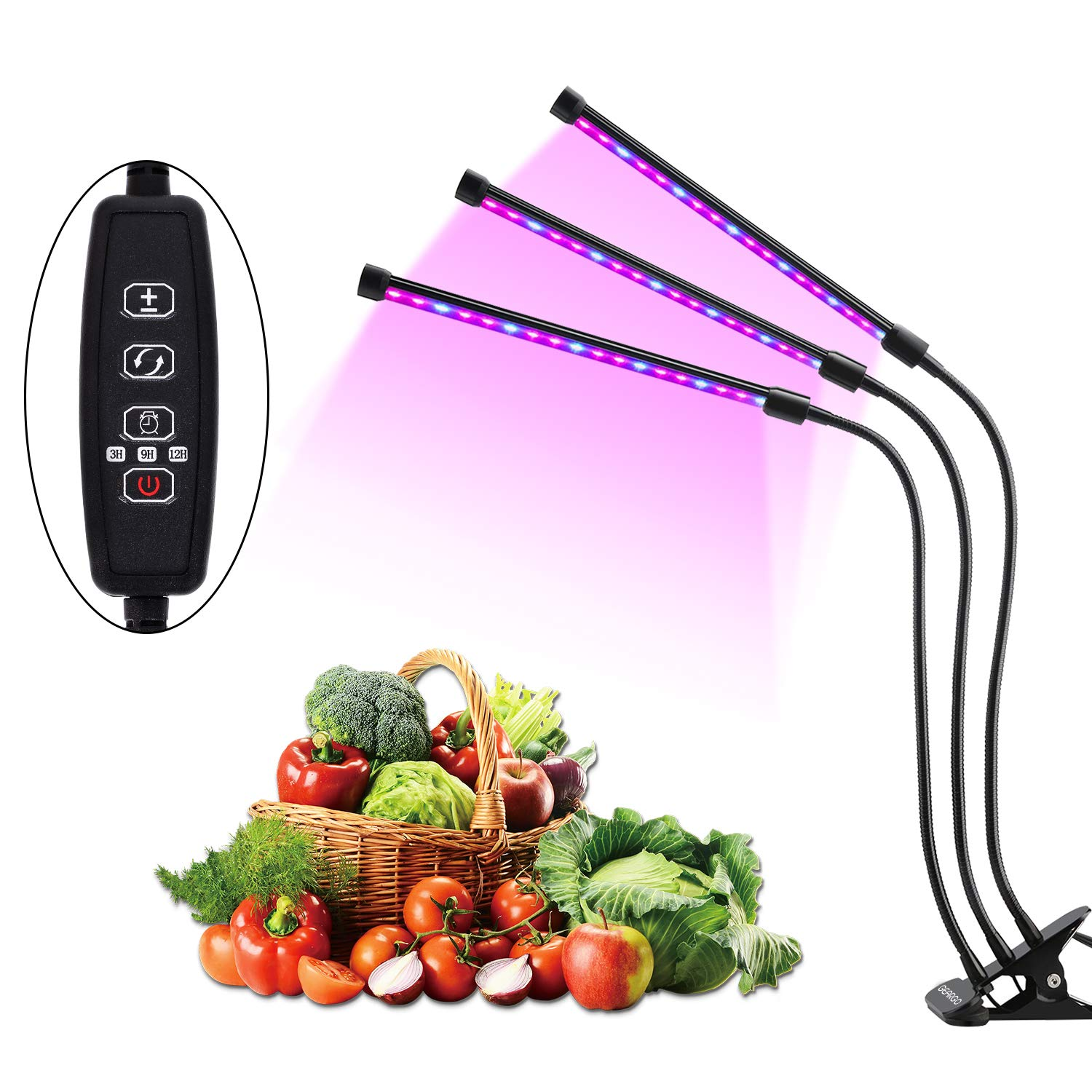 Led Grow Light, GEARGO 27W AUTO Turn ON/Off Plant Light, 3H/9H/12H Timers 54 LED Three Head 5 Dimmable Level 360 Degree Gooseneck Plant Light Bulbs for Indoor Plants Gardening [2018 Upgraded] by GEARGO