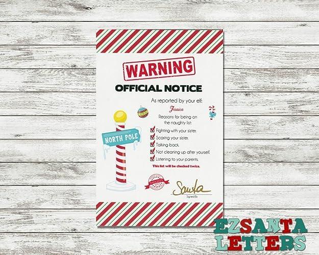Amazon Ez Santa Letters Magic Elfs Official Notice Naughty