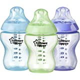 Tommee Tippee Closer to Nature Color My World Feeding Bottles, Boy, 9 Ounce, 3 Pack