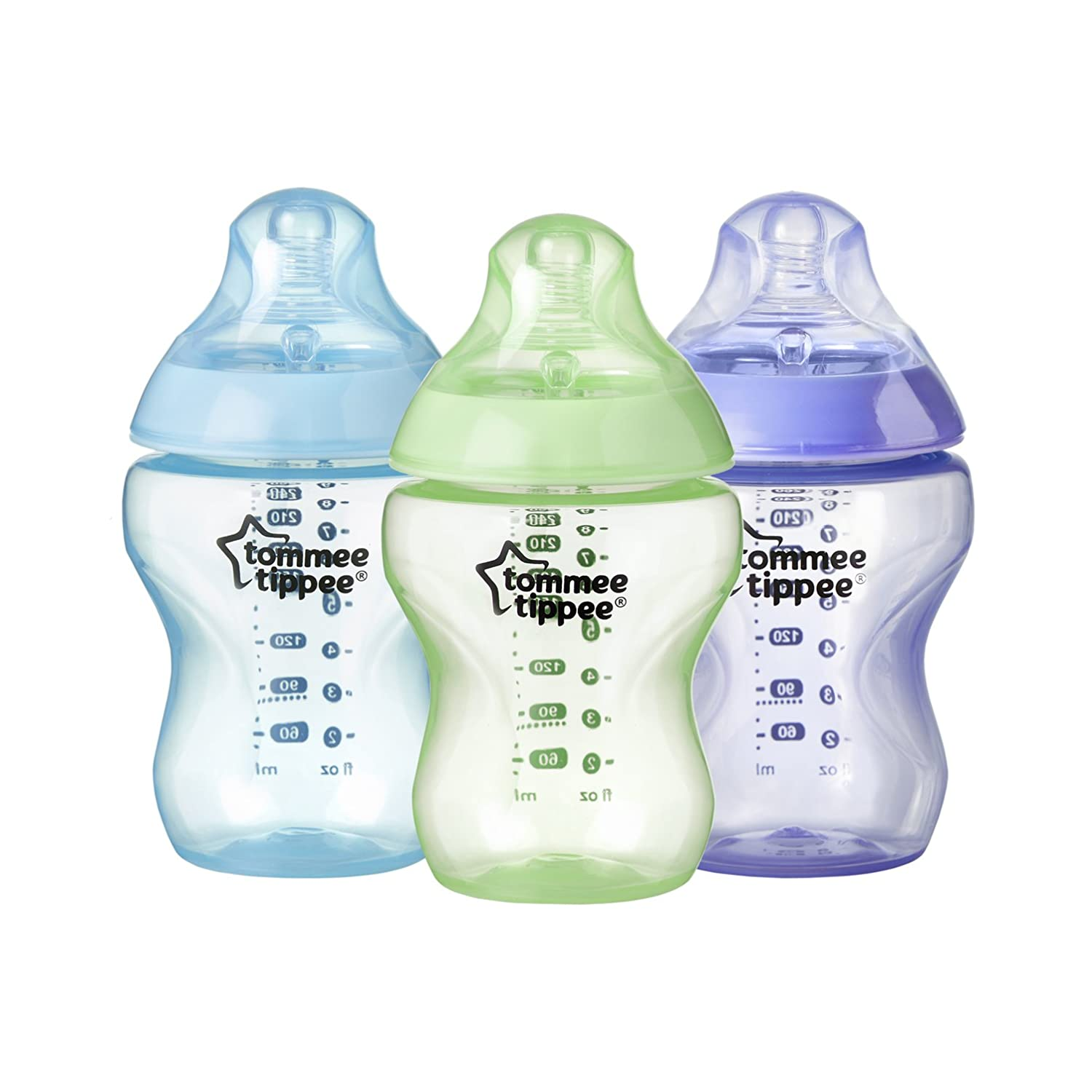 Tommee Tippee Closer to Nature Color My World Feeding Bottles, Girl, 9 Ounce, 3 Pack 522545
