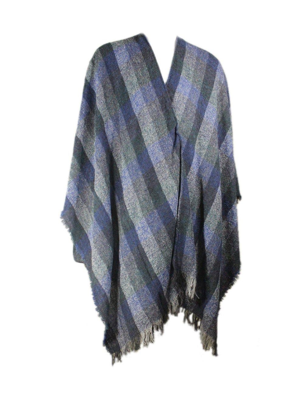 "Biddy Murphy Ruana Wool Checkered Blue 54"" x 72"" Made in Ireland"