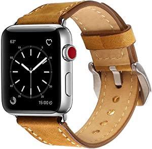 Libra Gemini Compatible with Apple Watch Band 42mm 44mm, Genuine Leather Replacement Band Compatible with Apple Watch Series 6 5 4 (44mm) Series 3 Series 2 Series 1 (42mm) Sport and Edition, Brown