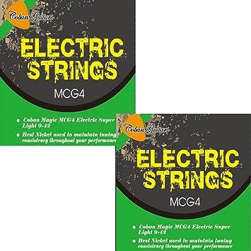 2x cuerdas de níquel 9-42 súper ligeras para guitarra eléctrica MCG4: Amazon.es: Instrumentos musicales