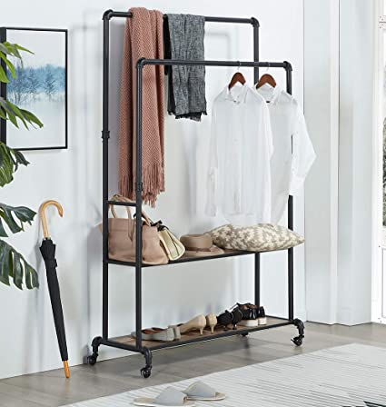 Homissue 72 Inch Industrial Pipe Double Rail Hall Tree Shoe Storage On  Wheel, 2 Shelf