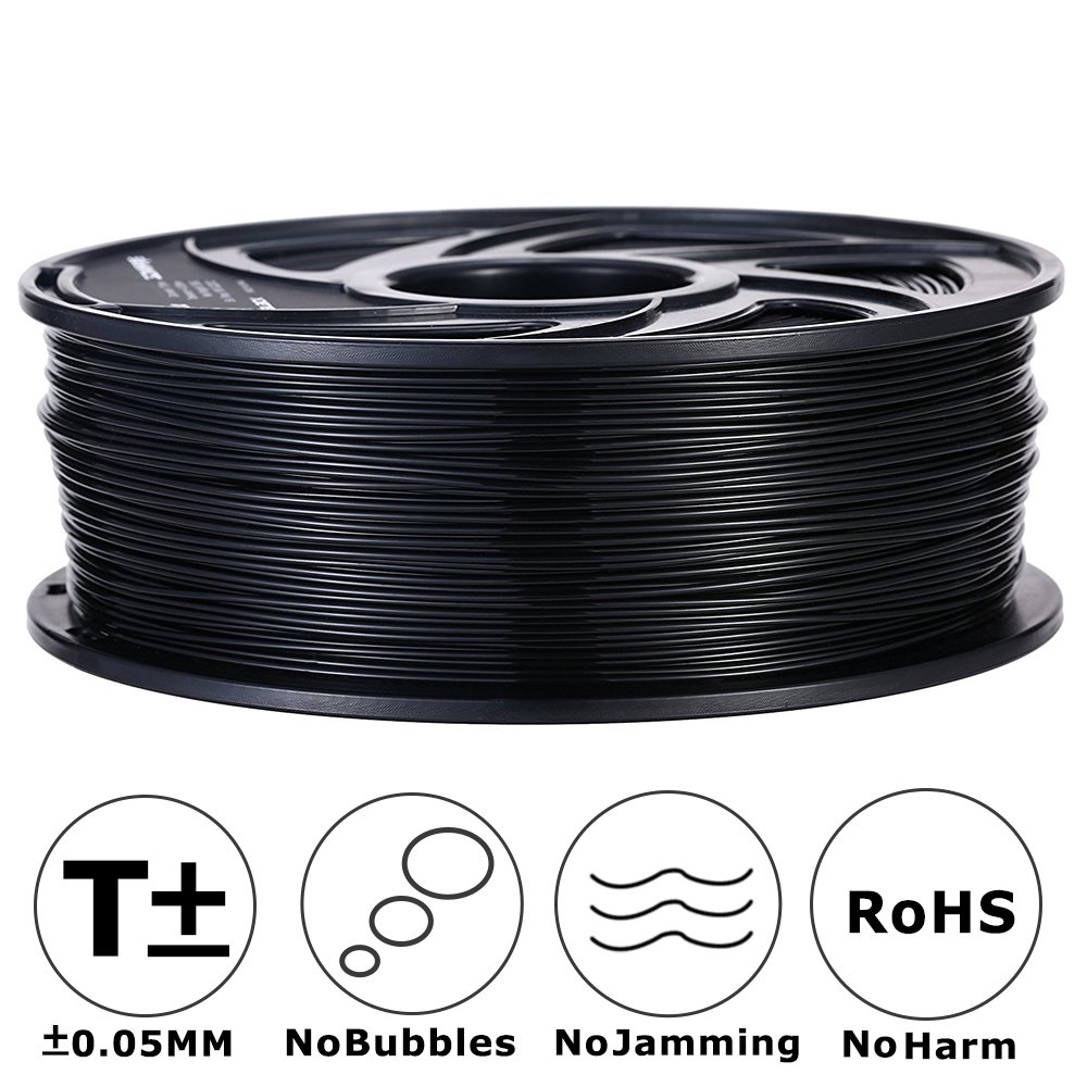 3D MARS Black 3D Printing Filament,1.75mm 3D Printer PLA Filament,Dimensional Accuracy +/- 0.05mm,1.2kg Spool 1.75 mm Filament PLA 3D Filament for Most 3D Printer & 3D Pen