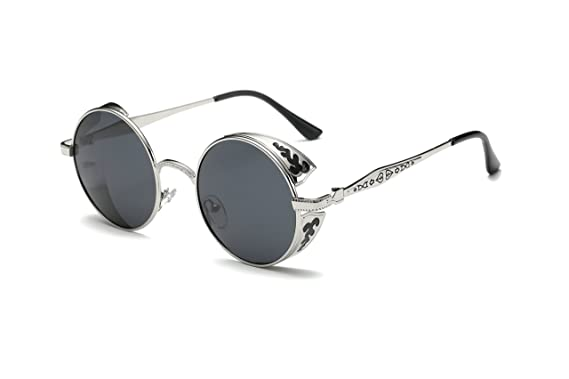 9138bb1030013 Dollger Retro Steampunk Style Inspired Round Metal Circle Reflective  Sunglasses(Black Lens+Silver Grey Frame)  Amazon.co.uk  Clothing
