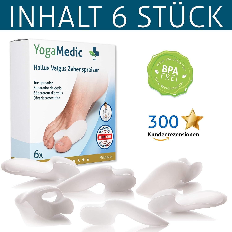 YogaMedic Hallux Valgus Corrector [6x] - Separador silicon de dedos - Super suave, cómodo y duradero - BPA Free - Talla universal: Amazon.es: Salud y ...
