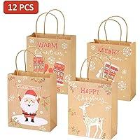 EKKONG Lot de 12 Sacs Cadeaux de Noël en Papier avec Poignées, Pochette Cadeau Kraft Marron pour Noël Mariage Anniversaire Fete, 4 Designs, 25.5 x 21 x 10cm (12pcs)