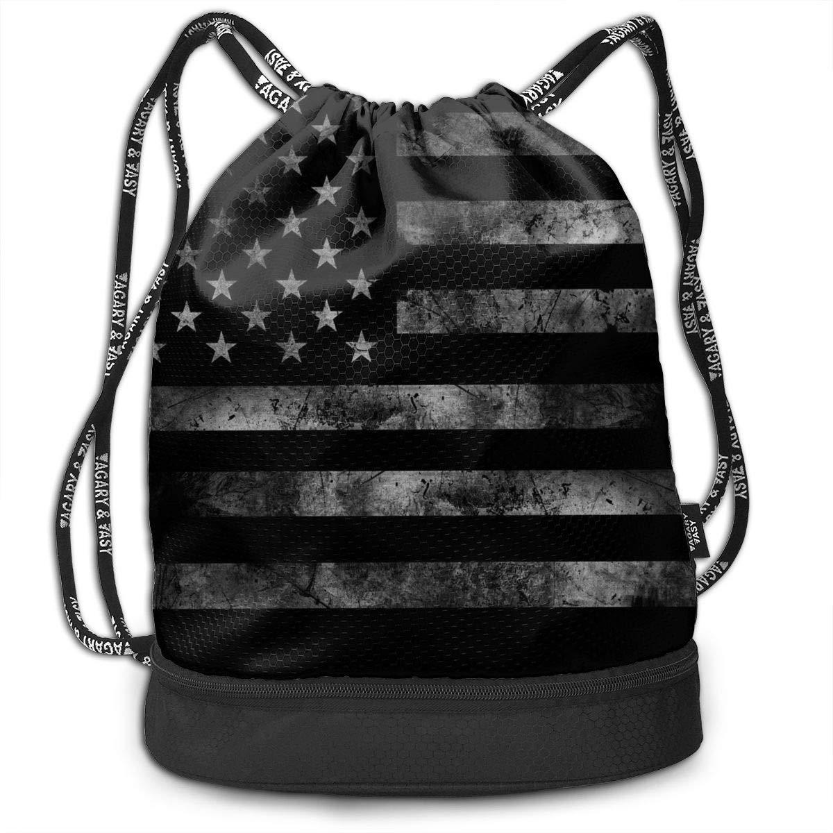 GRACE- Z America アメリカ国旗 レトロ ジム ドローストリング スポーツバッグ シンプル 速乾 バンドル バックパック B07N646DC1