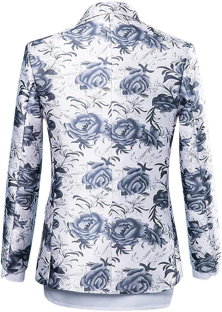 Mens Suits One Button Floral Blazer 2-Piece Wedding Suits Jacket and Pants