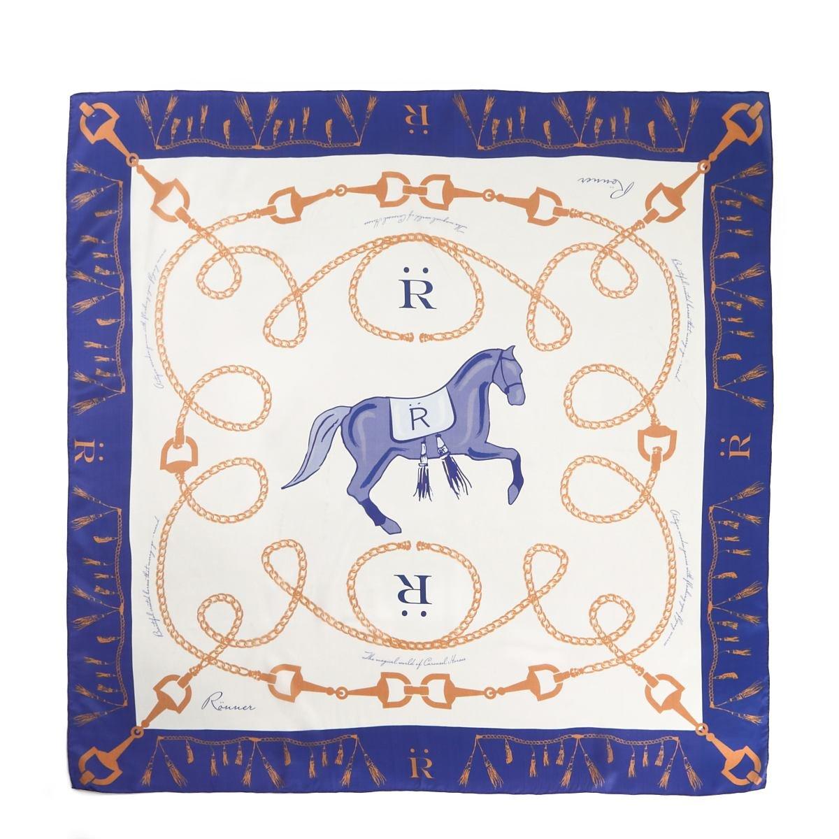 乗馬 乗馬用ウエア RONNER カルーセル シルク スカーフ 乗馬用品 馬具  ナイトブルー B078SLVLPR