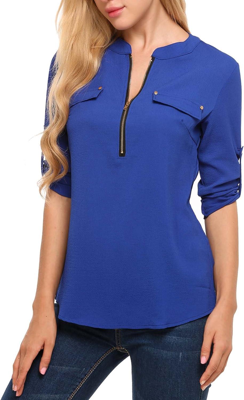 ANGVNS Women Long Sleeve Chiffon Blouse V Neck Office Work Blouse for Women Dress Shirts Tops