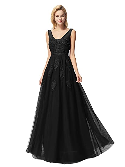 47aec1b0bc6c Ever Pretty Women's Sleeveless V Neck Floor Length A Line Empire Waist Long  Tulle with Lace