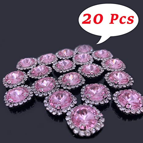 20pcs Assorted Color Rhinestone Flatback Buttons for Clothing Decoration
