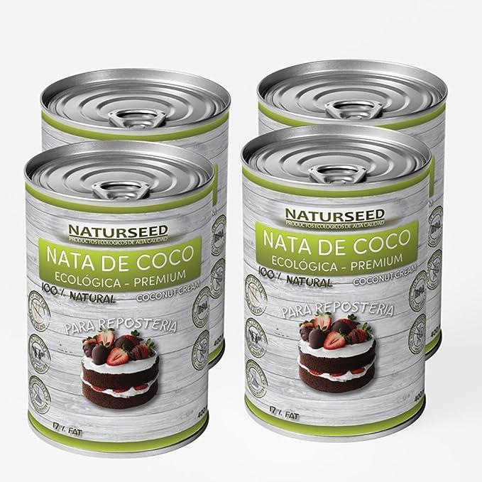 Naturseed - Nata de coco ecológica para cocinar, 4x400ml sin lactosa 100% natural.