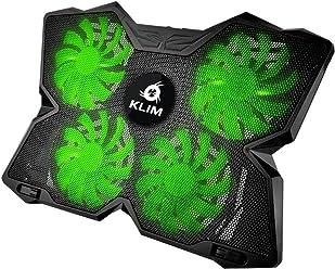 KLIM k27 Wind - Refroidisseur PC portable - Le Plus Puissant - Refroidissement Rapide - 4 Ventilateurs Support Ventilé Gamer Gaming Plaque (Vert)