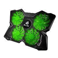 KLIM Wind Refrigeración para Ordenador Portátil – La más poderosa – Acción de Enfriamiento Rápido – Base Refrigerante Gaming de 4 Ventiladores con Soporte - Verde 2018 Versión